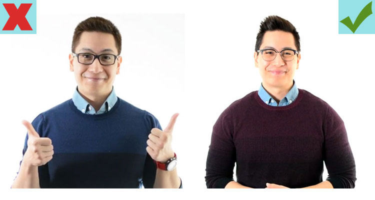 Fun gesture vs a regular smile for a professional picture